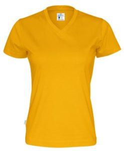 T-shirt V-neck Cottover Dam Färgad